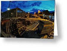 Construction Site At Night Greeting Card by Jaroslaw Grudzinski