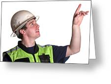 Construction Worker In Safety Jacket Greeting Card