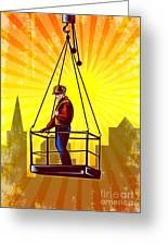 Construction Worker Platform Retro Poster Greeting Card