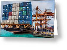 Container Cargo Freight Ship With Working Crane Loading Greeting Card