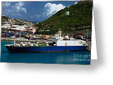 Container Ship St Maarten Greeting Card