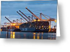 Container Ships Docked In Port Of Oakland Greeting Card
