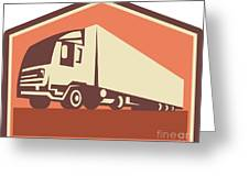 Container Truck And Trailer Flames Retro Greeting Card