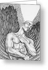 Contemplating Black Male Angel  Greeting Card