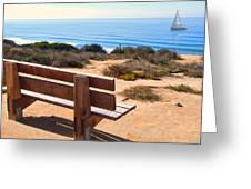 Contemplation Bench At The Oceans Edge Greeting Card