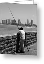 Contemplative Fisherman In Tel Aviv Greeting Card
