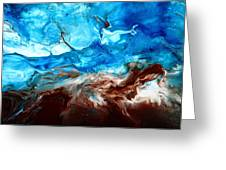 Contemporary Blue Abstract Art Fluid Painting-rapid By Kredart Greeting Card