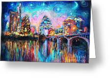 Contemporary Downtown Austin Art Painting Night Skyline Cityscape Painting Texas Greeting Card