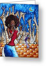 Contemporary New Orleans Jazz Blues Original Painting Singin In The Streets Greeting Card