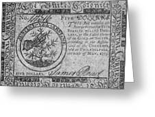 Continental Currency, 1775 Greeting Card