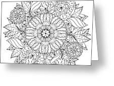 Contoured Mandala Shape Flowers For Greeting Card