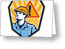Contractor Construction Worker Caution Sign Retro Greeting Card
