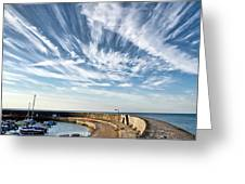 Contrails At Lyme Regis Harbour  Greeting Card