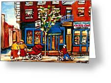 Conversation At St Viateur Bagel Paintings Mehadrin Kosher Deli Authentic Vintage Montreal Cspandau Greeting Card