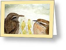 Conversation In The Crocus Greeting Card