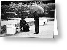 Conversation In The Rain Greeting Card