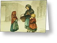 Conversation In The Snow Greeting Card by Pierre Edouard Frere