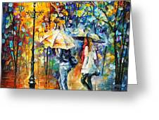 Conversation - Palette Knife Oil Painting On Canvas By Leonid Afremov Greeting Card