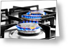 Cooker Gas Hob With Flames Burning Greeting Card by Fizzy Image