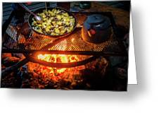 Cooking Meat And Potatoes Greeting Card