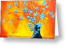 Cool Blue On Fire Greeting Card