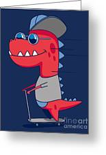 Cool Dinosaur Character Design Greeting Card