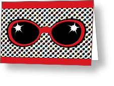 Cool Retro Red Sunglasses Greeting Card