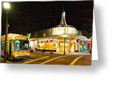 Coolidge Corner In Brookline At Night Greeting Card by Mark E Tisdale