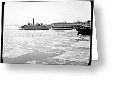 Cooper's Point Barge Hudson River C 1900 Greeting Card