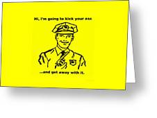 Cop Kicking Ass In Yellow Greeting Card