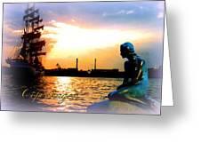 Copenhagen With Little Mermaid Greeting Card