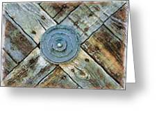 Copper Medalion On Weathered Gate-new Mexico Greeting Card