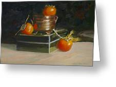 Copper Pot And Persimmons Greeting Card