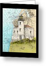 Coquille River Lighthouse Or Nautical Chart Map Art Cathy Peek Greeting Card