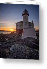 Coquille River Lighthouse Sunset Greeting Card