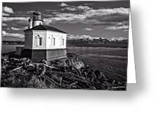 Coquille River Lighthouse Upriver Bw Greeting Card