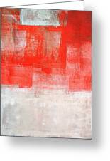 Tinted - Beige And Coral Abstract Art Painting Greeting Card