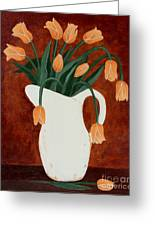 Coral Tulips In A Milk Pitcher Greeting Card