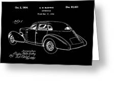 Cord Automobile Patent 1934 - Black Greeting Card