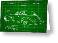 Cord Automobile Patent 1934 - Green Greeting Card