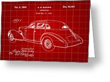 Cord Automobile Patent 1934 - Red Greeting Card