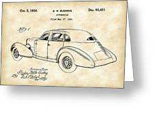 Cord Automobile Patent 1934 - Vintage Greeting Card