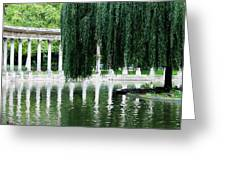 Corinthian Colonnade And Pond Greeting Card