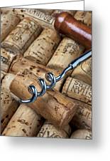Corkscrew On Corks Greeting Card by Garry Gay