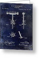 Corkscrew Patent 1897 Blue Greeting Card