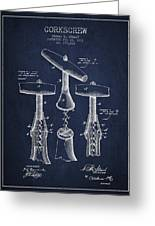 Corkscrew Patent Drawing From 1883 Greeting Card by Aged Pixel