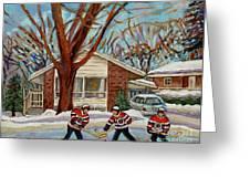 Cormac And Friends Neighborhood Hockey Game Ottawa Suburban City Scene Greeting Card