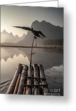 Cormorant Fishing On Li River Greeting Card