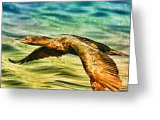 Cormorant On The Move Greeting Card