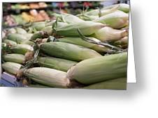 Corn On Display At Farmers Market Greeting Card